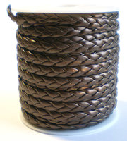 Leather twist metalic bruin