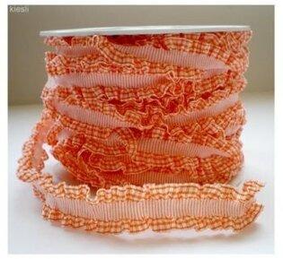 Oranje geruit roezel lint