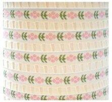 Wit band met roze bloemetjes,10 meter