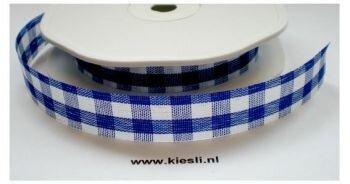 Blauw Carreau lint,15mm