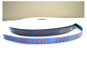 Happy birthday lint blauw/oranje