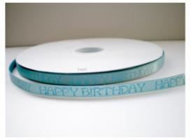 Happy birthday lint nijlblauw/lichtblauw