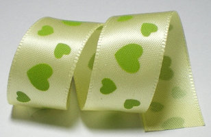 Geel-groene hartjes lint, 16mm