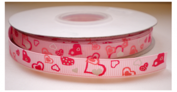 Hartjes lint lichtroze/roze/wit