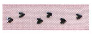Little hearts lint roze-zilver
