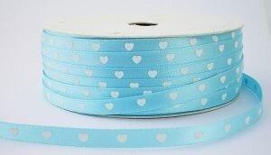 Lichtblauw hartjes lint