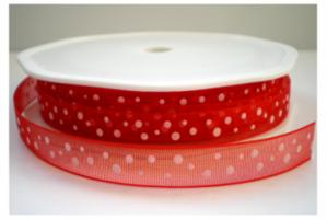 Rood organza lint met witte stip,10 mm