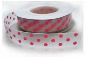 Organza met roze stip,16mm