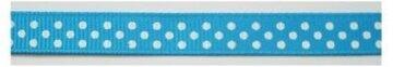 Helder blauw lint met witte stipjes