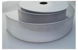 Grijs organza lint met zilver zijkantje