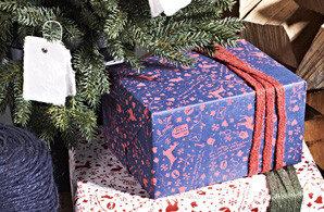 Inpak papier blauw/rood wintertime
