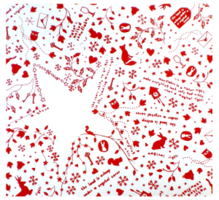 Inpak papier wit/rood wintertime