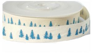 Cotton kerstbomen lint ,blauw