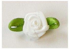 Wit roosje op strikje, 20mm