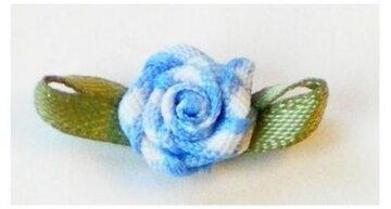 Blauw geruit roosje op strikje, 20mm