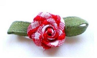 Rood geruit roosje op strikje, 20mm
