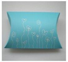 Blauwe pillow box met print,10 stuks