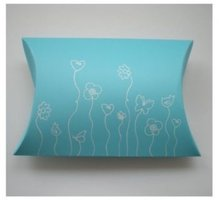 Blauwe pillow box met print,10 st