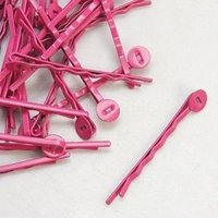 Roze haarspeld met plakschijfje, 50 st
