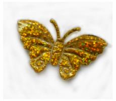 Goudkleurige glitter vlinders
