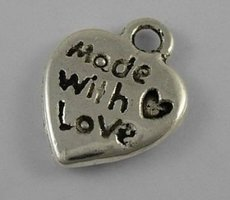 Made with love bedeltjes, zilver hartje