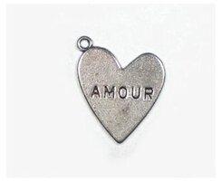 Amour bedeltjes antiek zilver, 18 mm