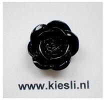 Cabochons Zwart roosje 18mm