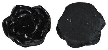 Cabochons Zwarte bloem 16mm