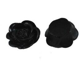 Zwart roosje cabochon 8mm
