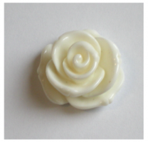Witte roos cabochon 22mm