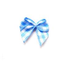 Blauw geruit strikje