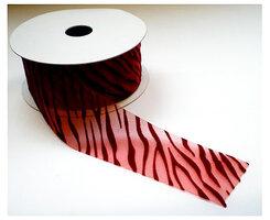 Donker rood organza zebra print lint