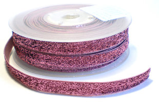 Glinsterend lint, roze 6mm
