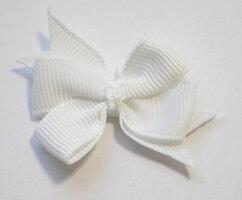 Dubbele strikken wit grosgrain
