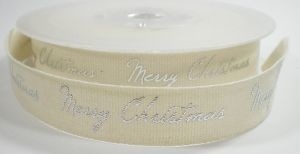 Cotton merry christmas lint,zilver,14mtr