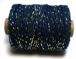 Cotton cord navy/goud