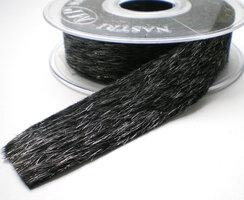 Zwart vachtje van stof 25mm