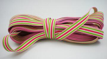 Grosgrain lint gestreept roze/groen