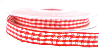 Geruit lint rood,10mm