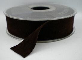 Fluweel lint DZ donkerbruin,25mm