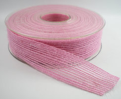 Jute band roze 25mm