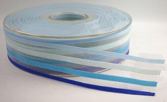 Organza/satijn lint streepjes blauw