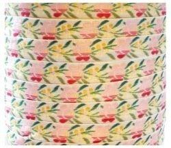 Wit band met roze bloemen,10 meter