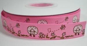 Roze schaapjes lint,16mm