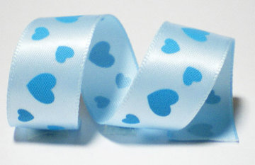 Blauw hartjes lint, 16mm