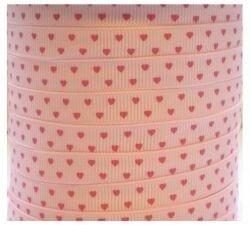 Lichtroze lint met roze hartjes