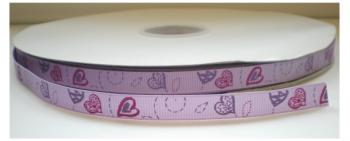 Hartjes lint lila/roze/paars