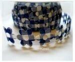 blauw geruit bloemen band,25mm