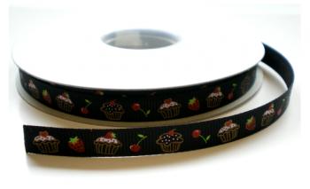 Zwart taartjes lint,10 mm