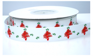 kerstboom wit/rood lint
